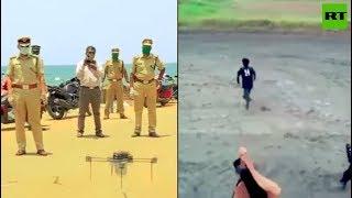 Drones v Lockdown violators   No one escapes the Indian police!