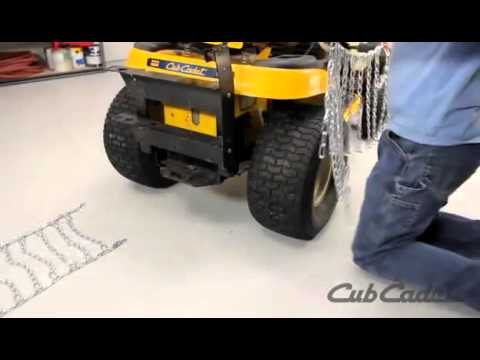 How To Put Tire Chains On Your Cub Cadet Riding Lawn Mower Youtube