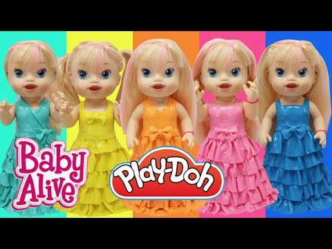 Play Doh Dresses  BABY ALIVE Rainbow Color Play-Doh Craft N Toys