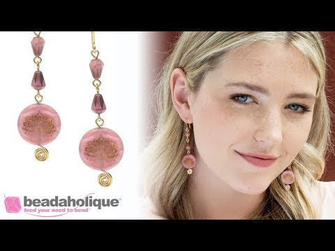How To Make Earrings With Fancy Wire Wrapped Headpins And Czech Glass Beads From Raven's Journey