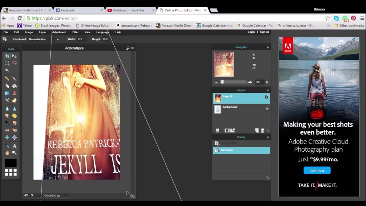 Best Book Cover Editor : Make a d book cover for free with pixlr youtube