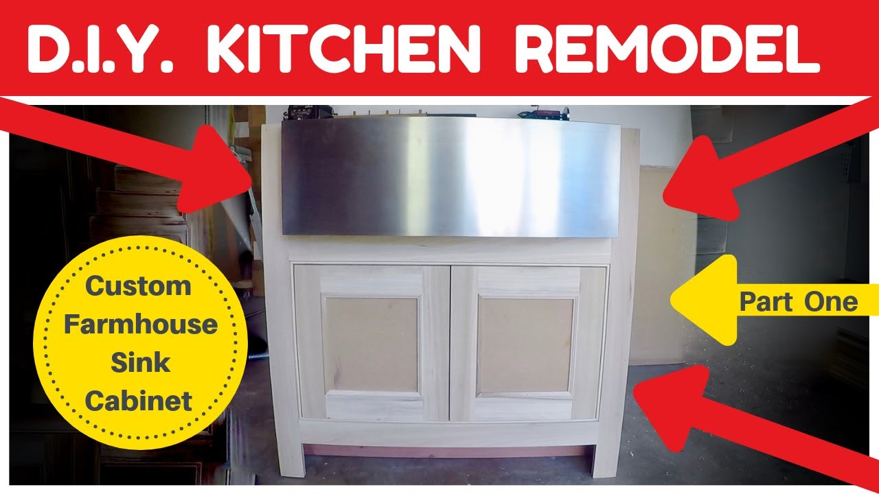 Diy Kitchen Remodel Custom Farmhouse Sink Cabinet How To Youtube