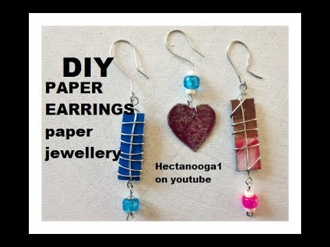 DIY, 3 PAPER EARRINGS, CEREAL BOX EARRINGS, paper jewelry, rectangle and heart