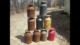 NINE Antique Metal Milk Cans FOR SALE!