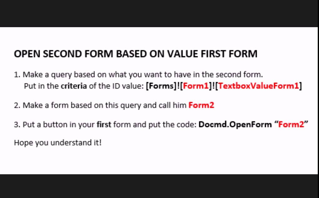 MS ACCESS Open form based on value