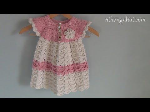 Crochet Baby Dress Tutorial (Eng Sub) I Móc Váy Len Họa Tiết 3D Cho Bé Gái 2-3 Tuổi