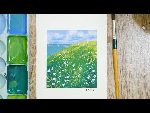 mini landscape  painting (เทคนิคสีโปสเตอร์ ) EP.75