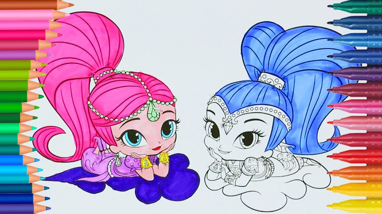 Imparare i colori con shimmer e shine magico libro di for Shimmer and shine da colorare