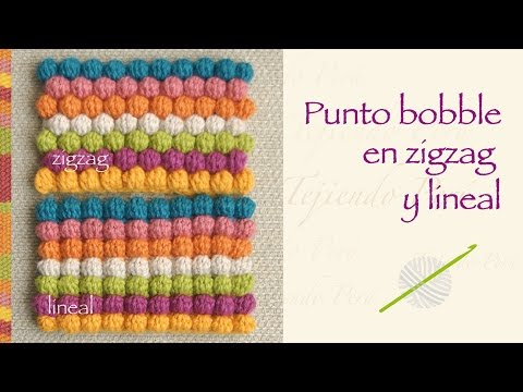 Crochet Zig Zag Puff Stitch : ... Punto Garbanzo O Bobble Stitch A Crochet En Zigzag Y En Forma Lineal