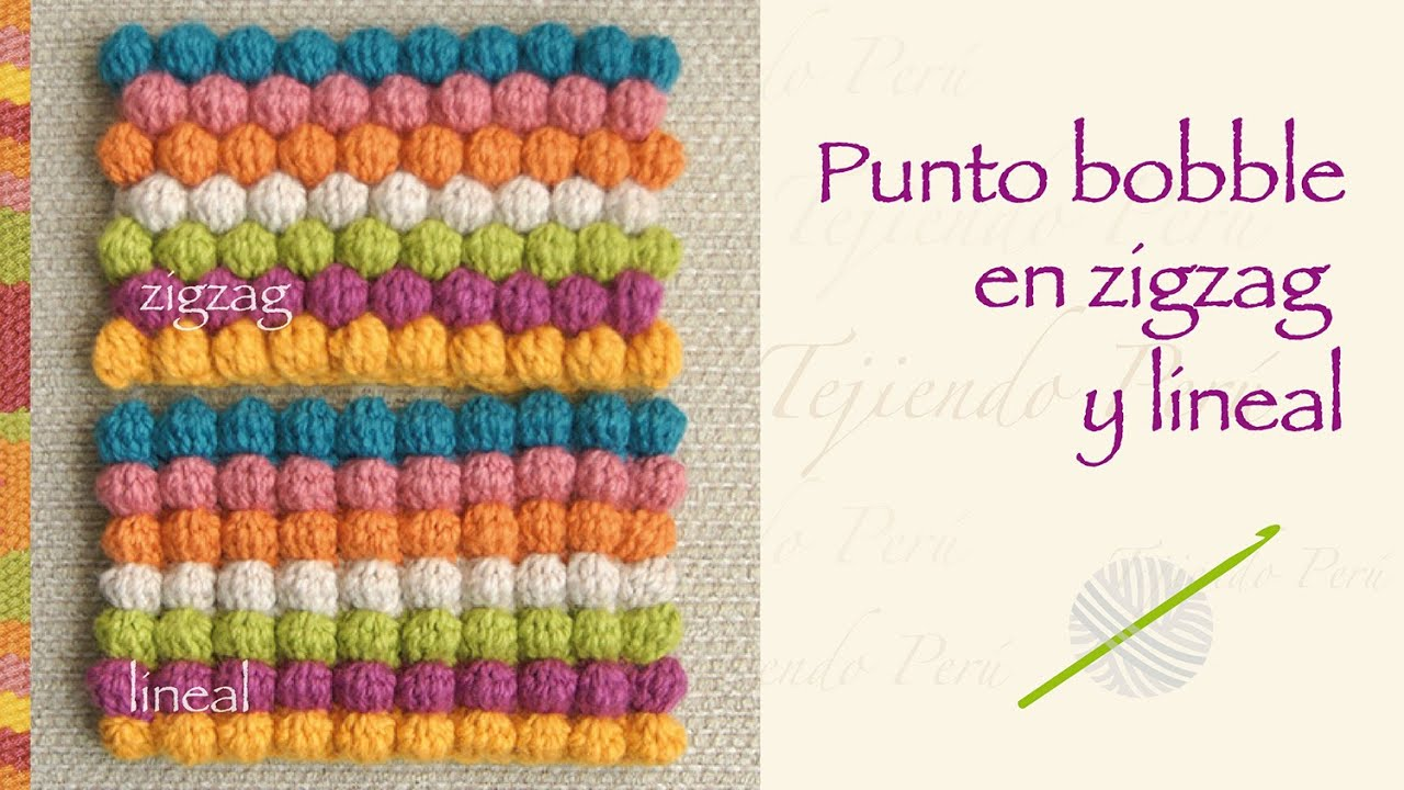 Crochet Stitches Bobble : Punto garbanzo o bobble stitch a crochet en zigzag y en forma lineal ...