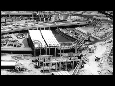 Aerials of incomplete structures in Flushing Meadows Park, part of the New York W...HD Stock Footage
