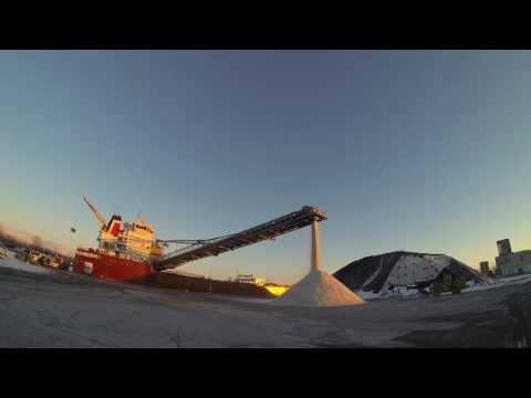 Ship unloading road salt