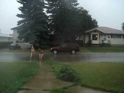 running in the rain naked