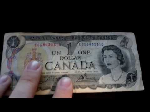 Canadian 1 Dollar Bills! + 50 Cent Coin And Old 20 Dollar Bill!