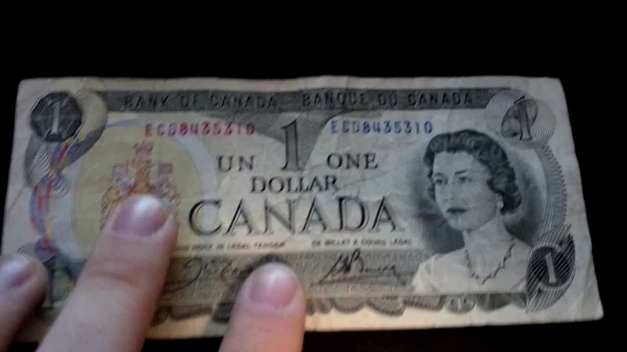 Canadian 1 Dollar Bills 50 Cent Coin And Old 20 Dollar Bill Youtube