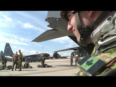 U.S. & Canadian Army Paratroopers C-130H Air Drop Operation