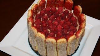 Gâteau Charlotte Aux Framboises & Chocolat - Raspberry & Chocolate Charlotte Cake Recipe