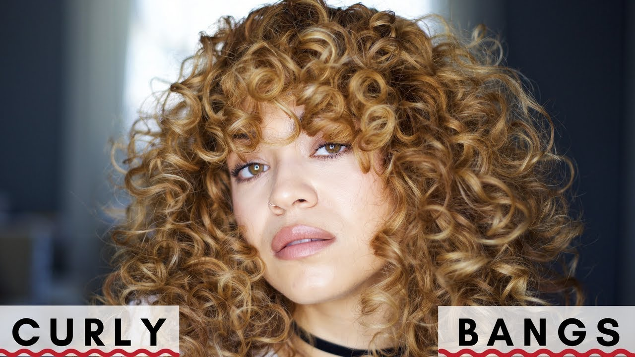 How I Style Curly Bangs Youtube