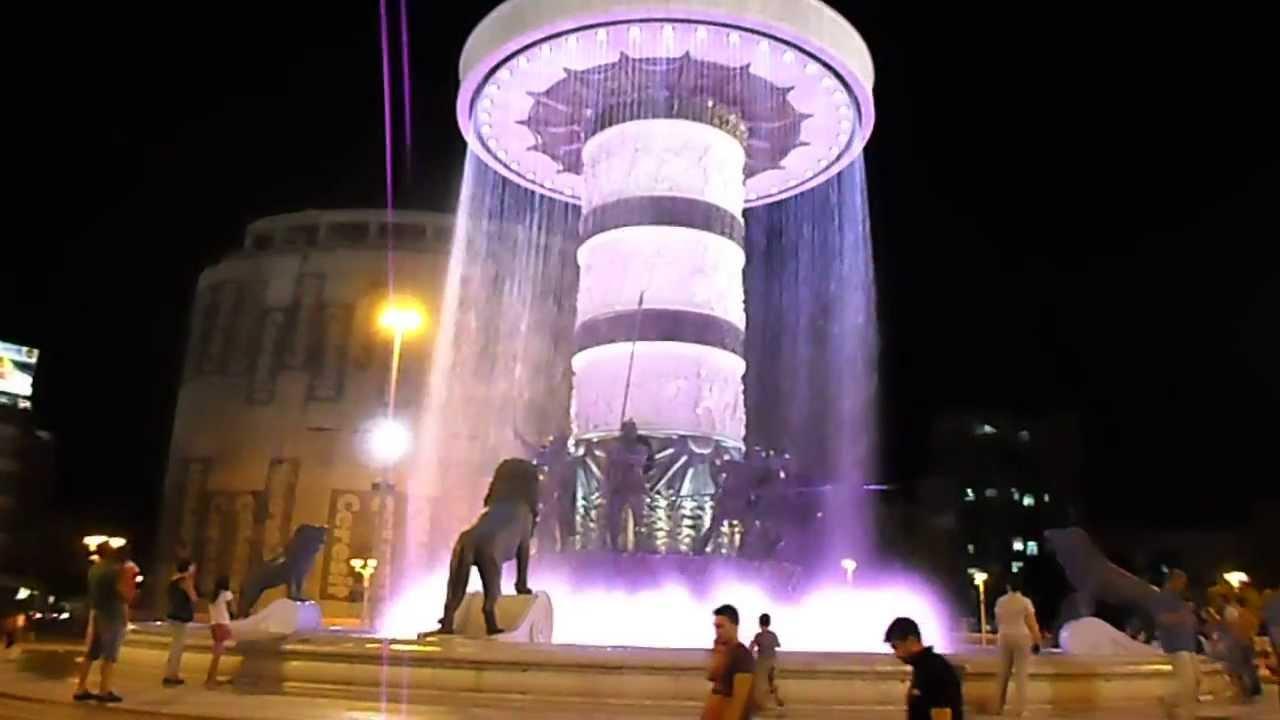 Skopje Plostad Aleksandar Makedonski Fontana Youtube