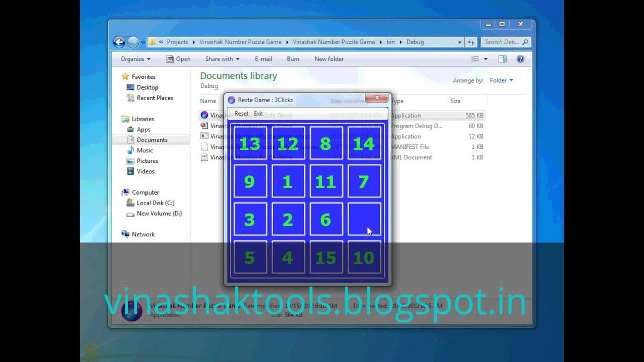 Vinashak Number Puzzle Game With Visual Basic