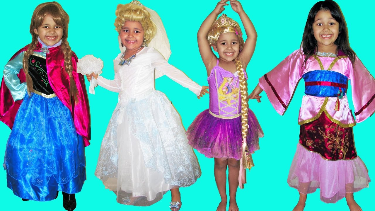 9 Halloween Costumes Disney Princess Belle Cinderella Elena Queen Elsa Anna and Rapunzel  sc 1 st  YouTube & 9 Halloween Costumes Disney Princess Belle Cinderella Elena Queen ...