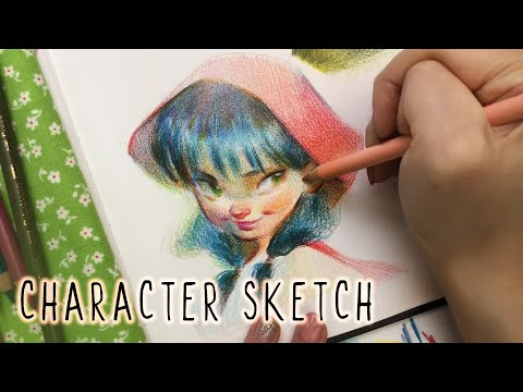Real-time Character Portrait Process! Polychromos 1st Impressions Pt.2!