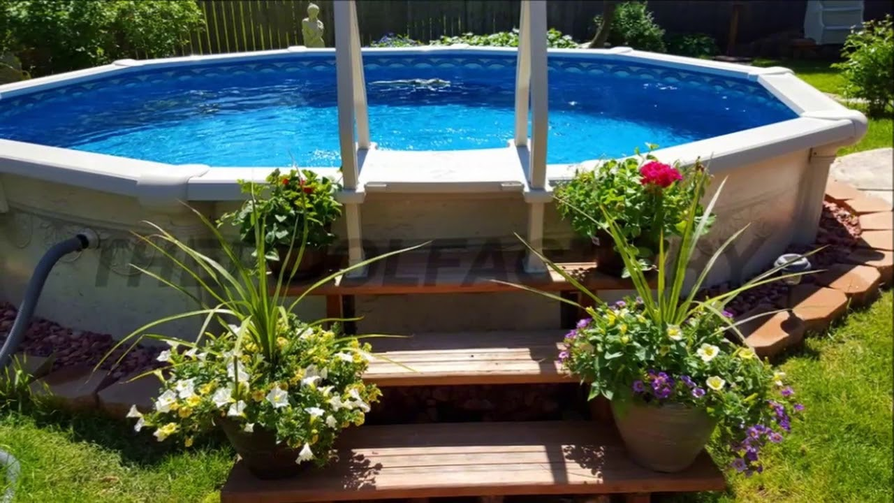 Modern backyard backyard designs with above ground pool - Swimming pools for small backyards ...