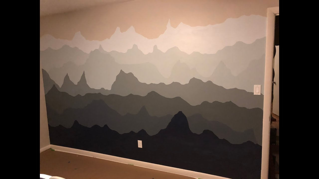 Painting A Mountain Scape On The Wall Accent Wall Idea