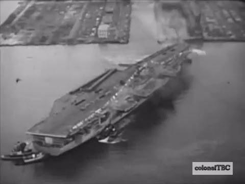 USS Forrestal (CV-59) leaves the shipyard after christening - 12 December 1954