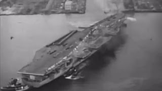 USS Forrestal (CV-59) leaves the shipyard after christening - 12 December 1954