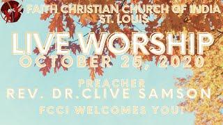 FCCIndia Live Worship 10/25/2020 | FCCI St. Louis