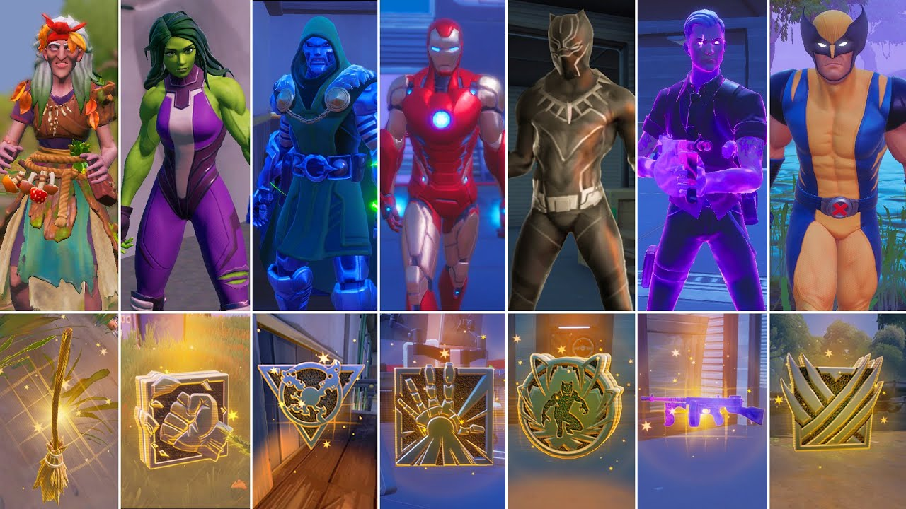 Fortnite All 9 Mythic Weapons in 1 Game! Boss Wolverine, Iron Man, Doom, Black Panther, Broom, Hulk
