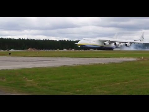 Plane Antonov An-225 Mriya landing runway in Riga