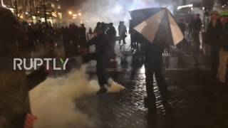 USA  Flash bangs and flag burning   clashes erupt at Portland's anti Trump protest