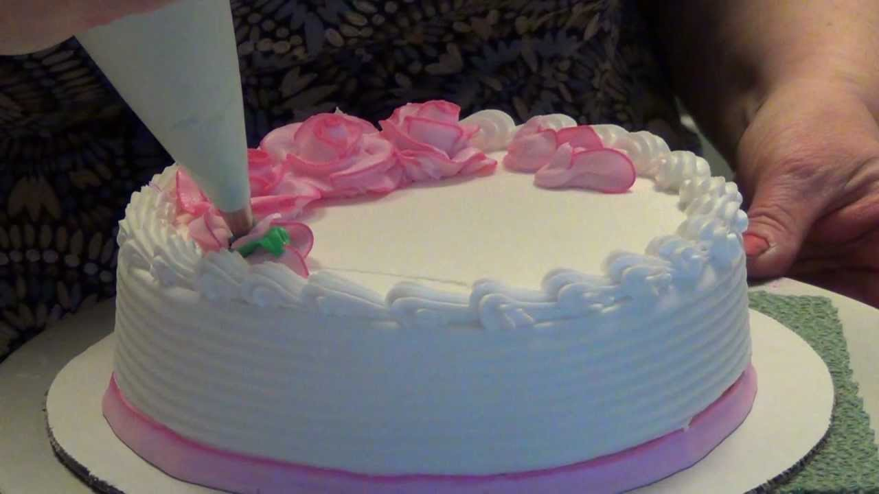 How Decorate Cake At Home : Let s decorate a cake with two-tone roses! by CakesToYouTutorials.com - YouTube