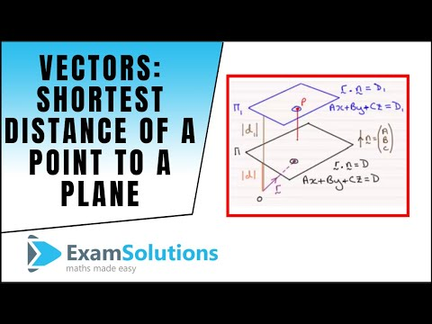 Vectors - Shortest distance of a point to a plane : ExamSolutions Maths Revision