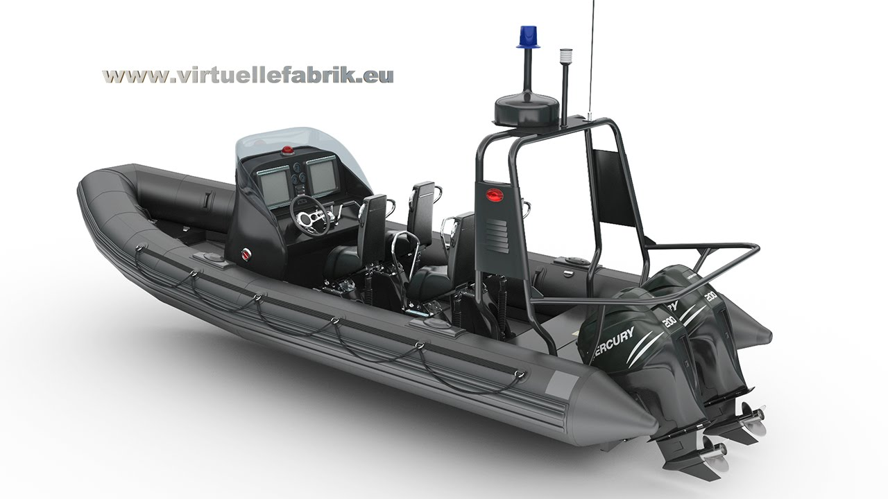 military schlauchboot zodiac mit verado 200 mercury motoren 3d animation youtube. Black Bedroom Furniture Sets. Home Design Ideas