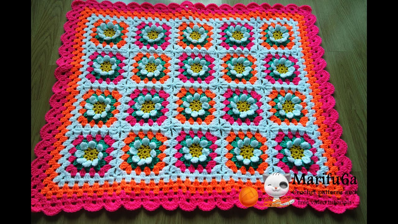 How to crochet baby flower blanket afghan free pattern tutorial by ...