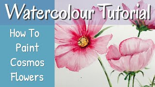 How To Paint Cosmos Flowers In Watercolour For Beginners Using Just 3 Colours!
