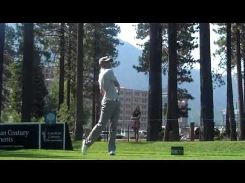 Stephen Curry Teeing Off At The 2014 American Century Lake Tahoe Golf Event