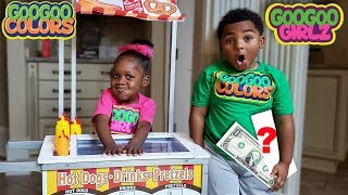 WHERE IS MY MONEY GOO GOO GIRLZ? (Learn to Count Money with Pretend Play Food Cart)