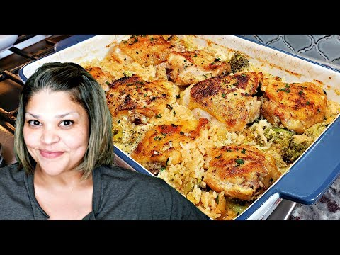 Chicken And Broccoli Cheese Rice Casserole | One Pan Baked Chicken And Rice
