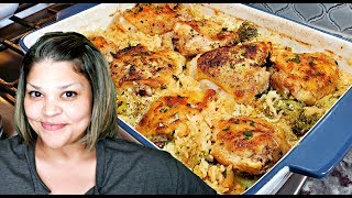 Baked Chicken and Rice Recipe | Chicken and Broccoli Cheese Rice Casserole Recipe