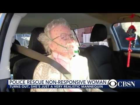 Police rescue non responsive woman to find out she's just a mannequin