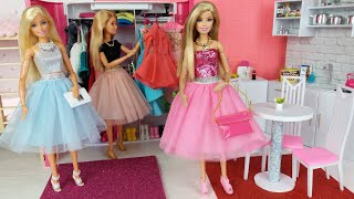 Barbie Doll Morning Bedroom Bunkbed Routine. Life in a Dreamhouse.  DIY Mini Doll House