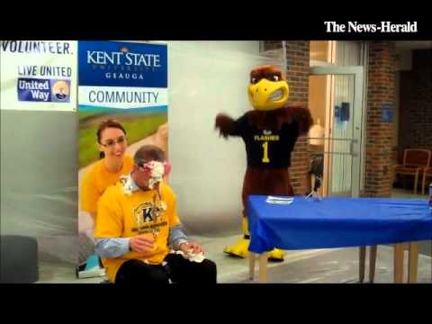 Kent State University at Geauga admins take pies to the face to raise money for @UWGeauga
