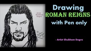how to draw WWE Roman Reigns ✔ | Speed Art Challenge