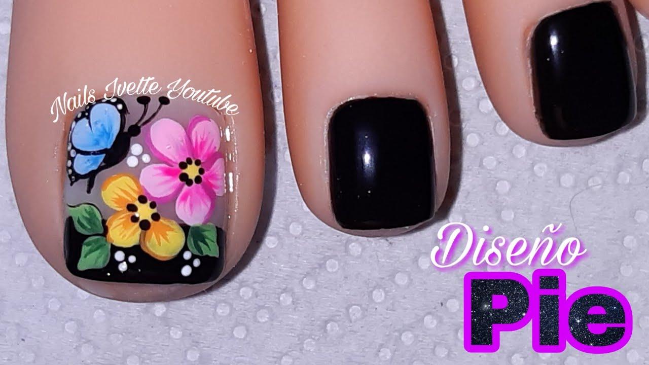 Decoración De Uñas Flores Y Mariposa Pie Uñas Decoradas Con Flores Y Mariposauñas En Negro