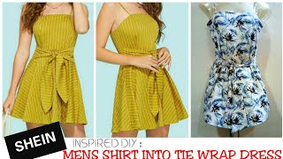 Download Video DIY : Recycle/Reuse Mens shirt Into Beautiful Tie wrap Dress in 5 minutes~ MP3 3GP MP4