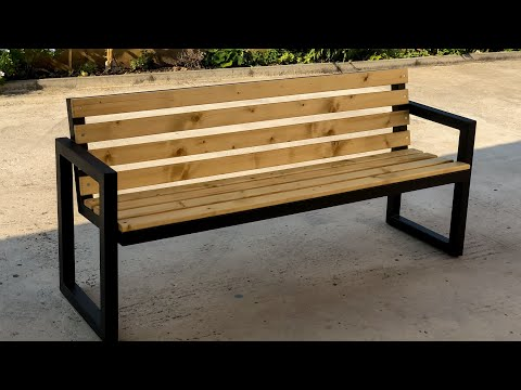 Modern Outdoor Bench |steel & wood|